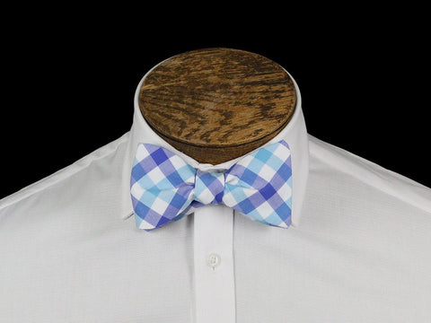 Boy's Bow Tie 21667 Blue/White Check Boys Bow Tie High Cotton