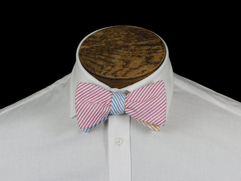 Boy's Bow Tie 21669 Multi-color Seer Sucker Stripe Boys Bow Tie High Cotton