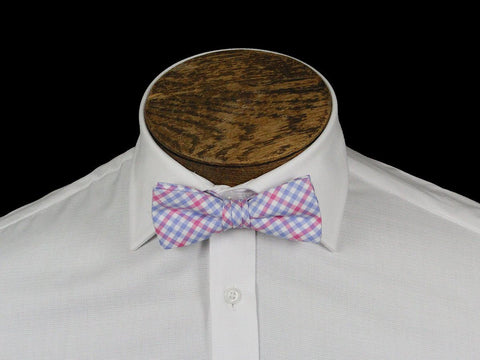 Boy's Bow Tie 21672 Pink/Blue Check Boys Bow Tie High Cotton