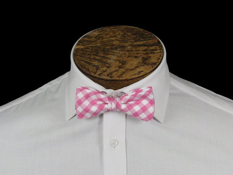 Boy's Bow Tie 21673 Pink Check Boys Bow Tie High Cotton