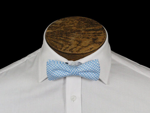 Boy's Bow Tie 21674 Blue/White Linen Check Boys Bow Tie High Cotton