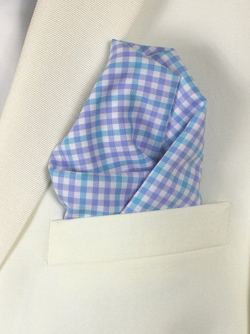 Boy's Pocket Square 21676 Blue/White Check Boys Pocket Square High Cotton