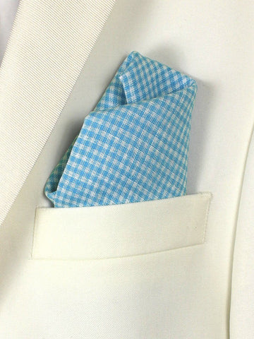 Boy's Pocket Square 21677 Blue/White Linen Check Boys Pocket Square High Cotton