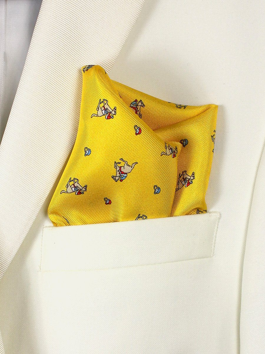 Boy's Pocket Square 21678 Yellow Derby Pattern