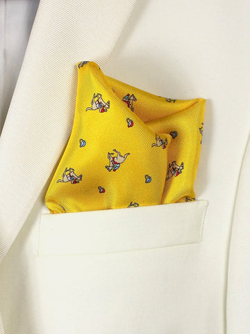 Boy's Pocket Square 21678 Yellow Derby Pattern Boys Pocket Square High Cotton