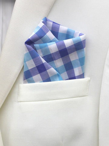 Boy's Pocket Square 21679 Blue/White Check Boys Pocket Square High Cotton