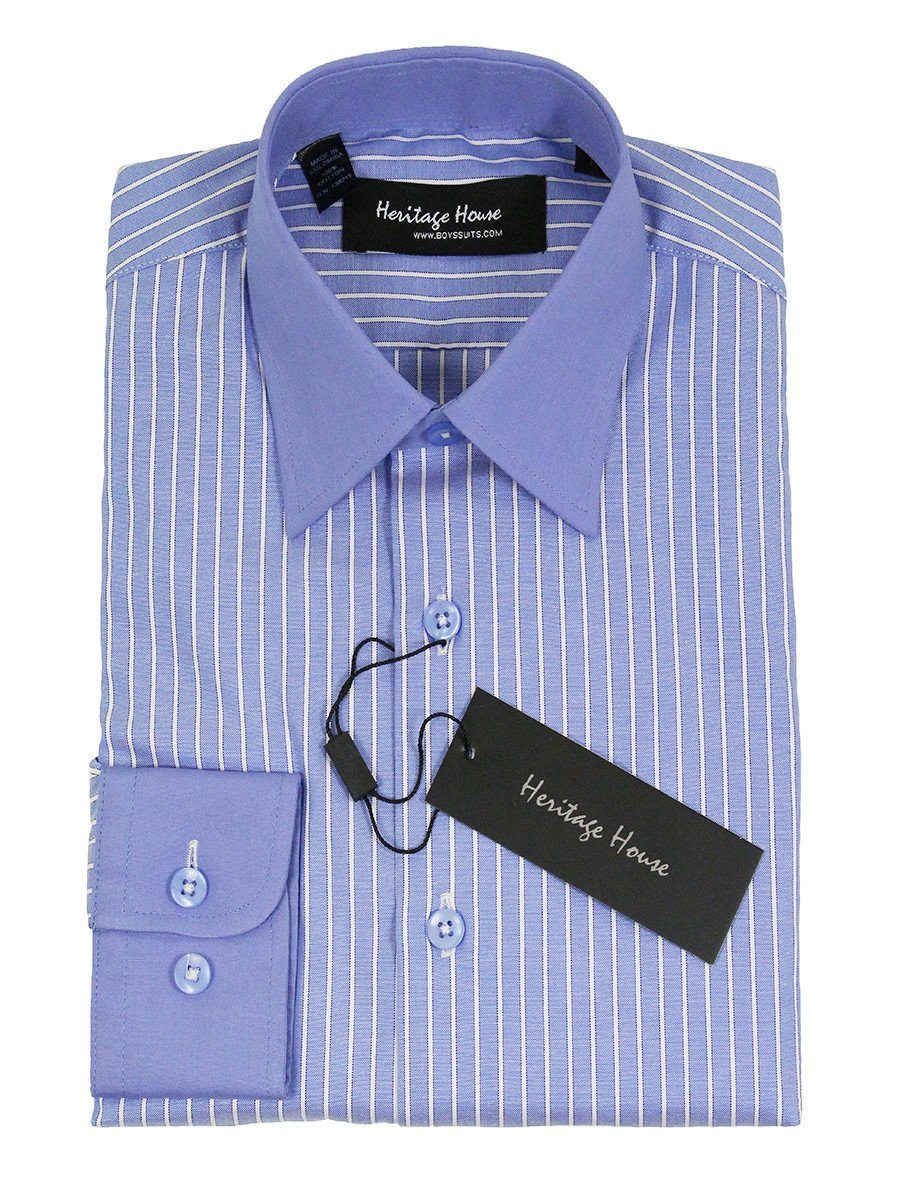 Heritage House 21703 100% Cotton | 100's - 2 Ply Boy's Dress Shirt - Stripe - French Blue