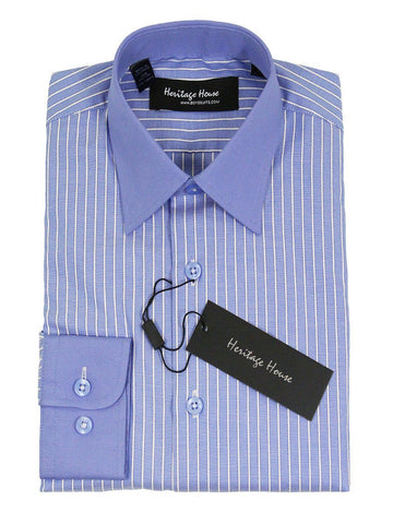 Heritage House 21703 100% Cotton | 100's - 2 Ply Boy's Dress Shirt - Stripe - French Blue Boys Dress Shirt Heritage House