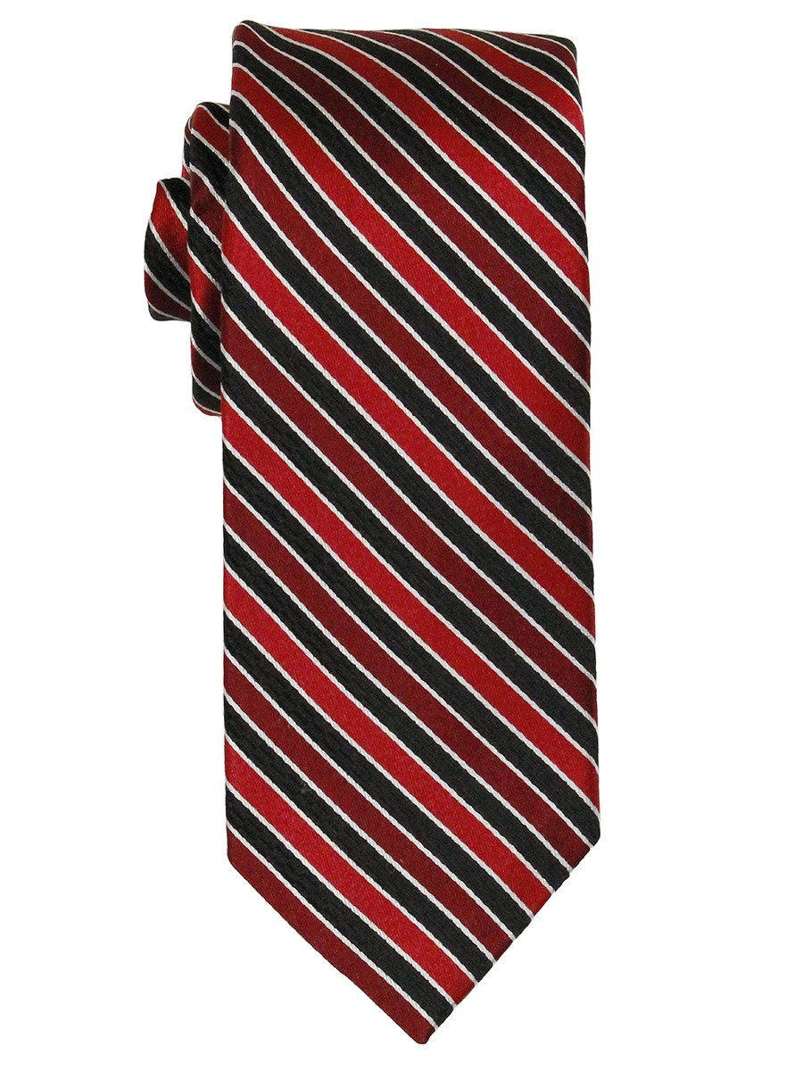 Heritage House 21777 100% Woven Silk Boy's Tie - Stripe - Red/Black