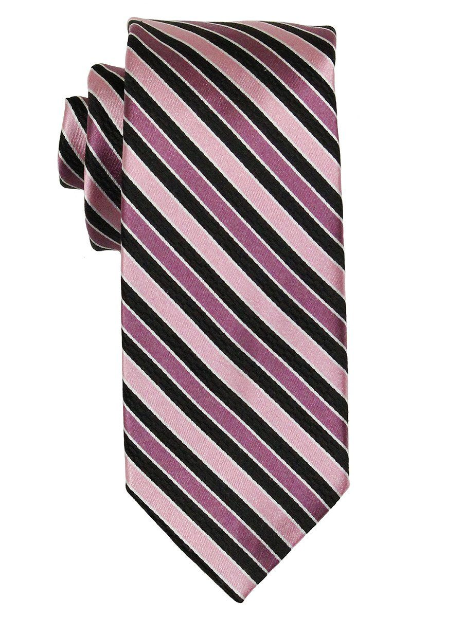 Heritage House 21779 100% Woven Silk Boy's Tie - Stripe - Pink/Black Boys Tie Heritage House