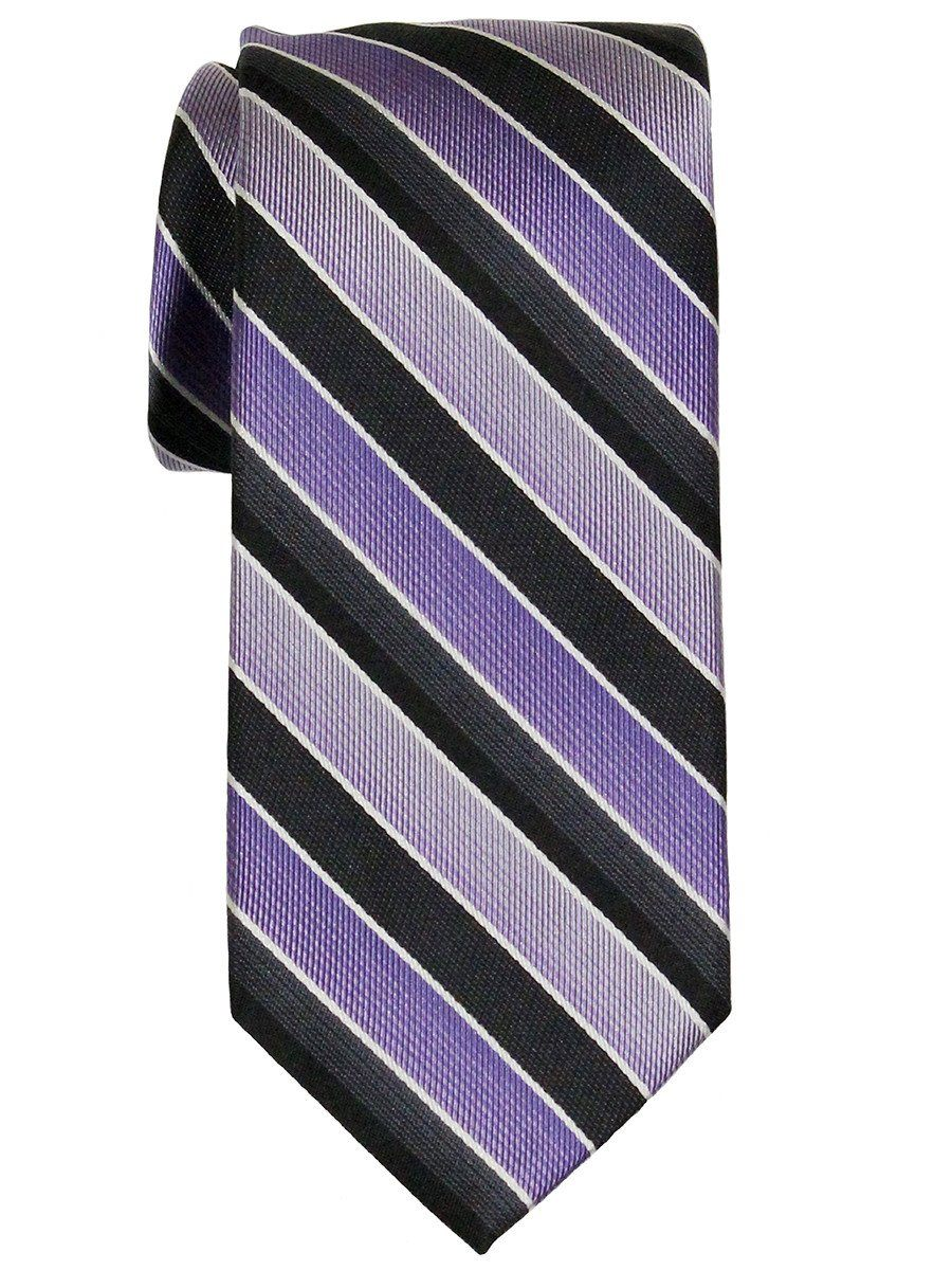 Heritage House 21791 100% Woven Silk Boy's Tie - Stripe - Purple/Black