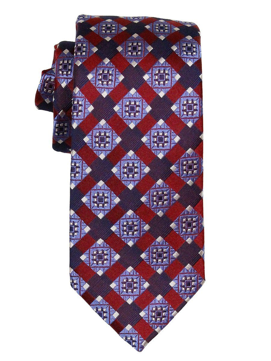 Heritage House 21837 100% Woven Silk Boy's Tie - Neat - Red/Blue Boys Tie Heritage House