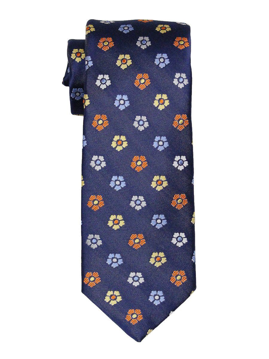 Heritage House 21843 100% Woven Silk Boy's Tie - Flower - Navy Boys Tie Heritage House