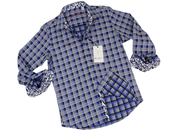 Boy's Sport Shirt 22325 Blue Plaid