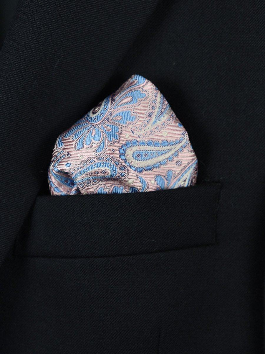 Boy's Pocket Square 22376 Pink/Blue Paisley