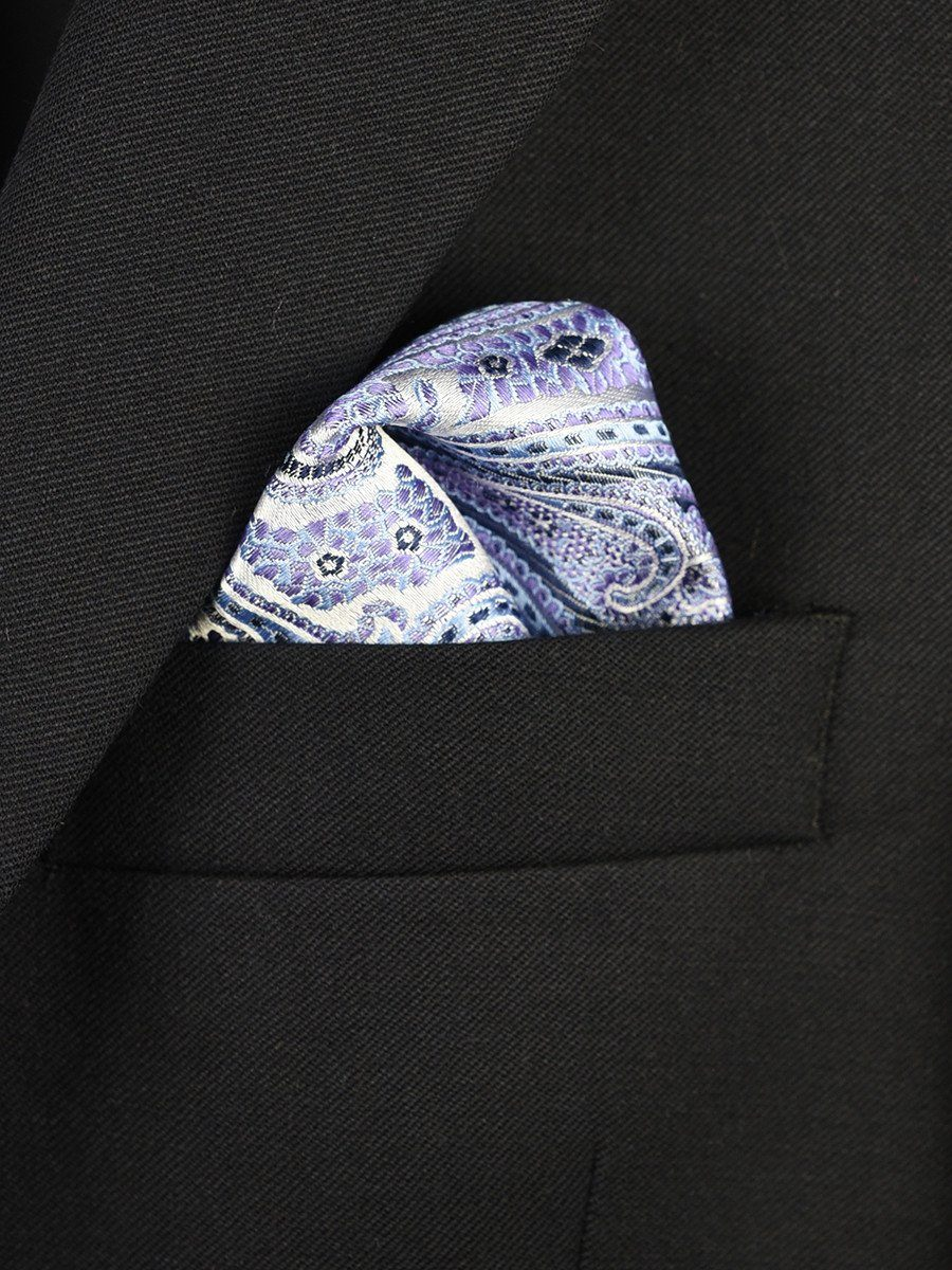Boy's Pocket Square 22377 Silver/Purple/Blue Paisley