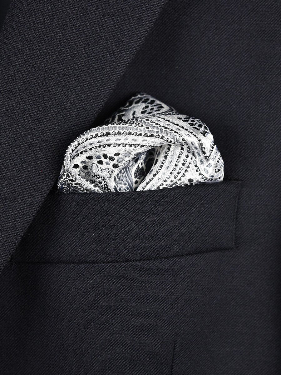 Boy's Pocket Square 22378 Silver/Black Paisley
