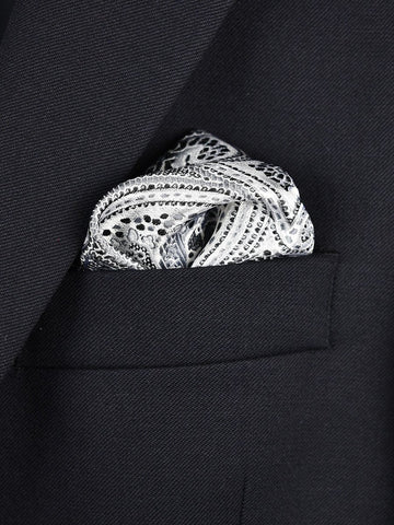 Boy's Pocket Square 22378 Silver/Black Paisley Boys Pocket Square Heritage House