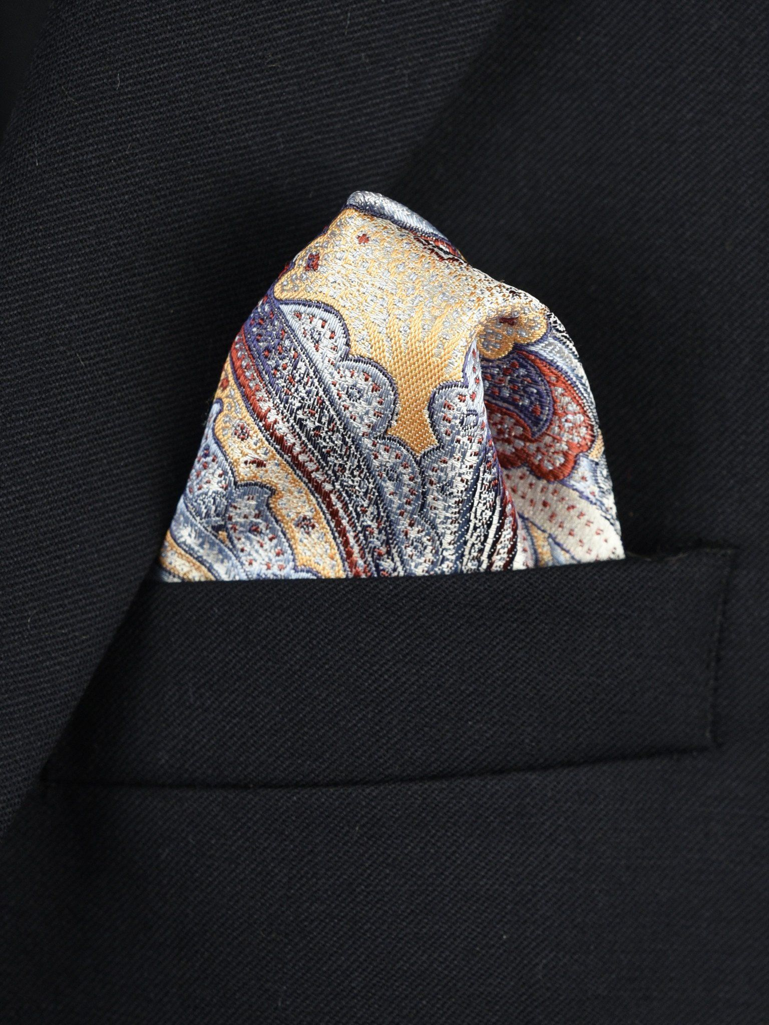 Boy's Pocket Square 22379 Peach/Blue Paisley