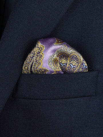 Boy's Pocket Square Purple/Gold 22380 Paisley Boys Pocket Square Heritage House