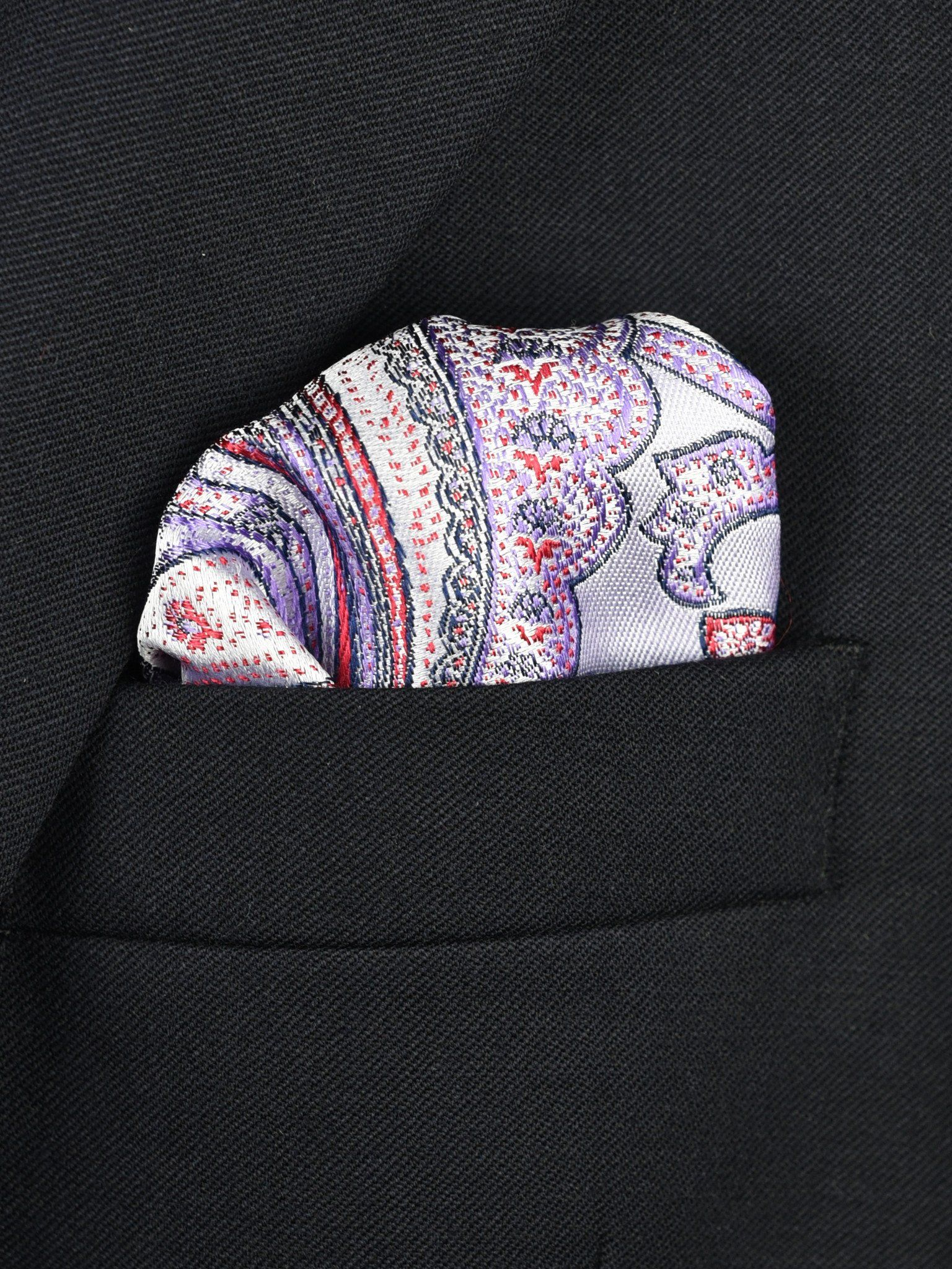 Boy's Pocket Square 22381 Lilac/Red Paisley