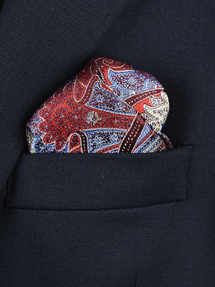 Boy's Pocket Square 22382 Red/Blue Paisley