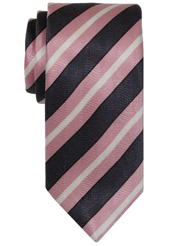 Heritage House 22393 100% Woven Silk Boy's Tie - Stripe - Pink/Black Boys Tie Heritage House