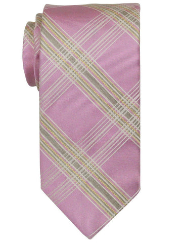 Heritage House 22401 100% Woven Silk Boy's Tie - Plaid - Purple/Tan Boys Tie Heritage House