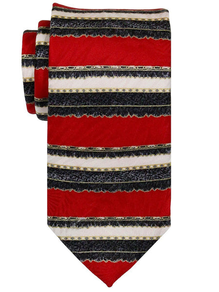 Heritage House 22407 100% Woven Silk Boy's Tie - Neat - Red/Ecru
