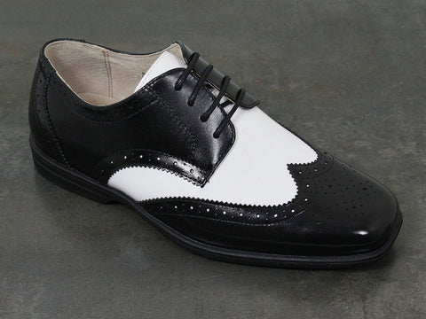 Florsheim 22497 Leather Boy's Shoe - Two Tone Wing Tip - Black And White Boys Shoes Florsheim