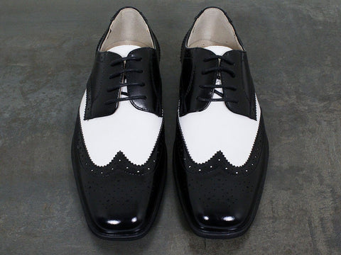 Florsheim 22497 Leather Boy's Shoe - Two Tone Wing Tip - Black And White
