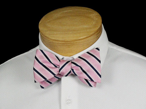 Boy's Bow Tie 22532 Pink/Navy Stripe Boys Bow Tie Scotty Z