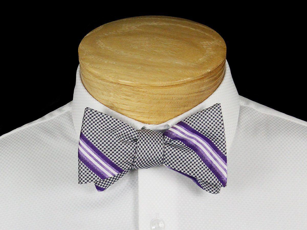 Boy's Bow Tie 22533 Grey/Purple Stripe
