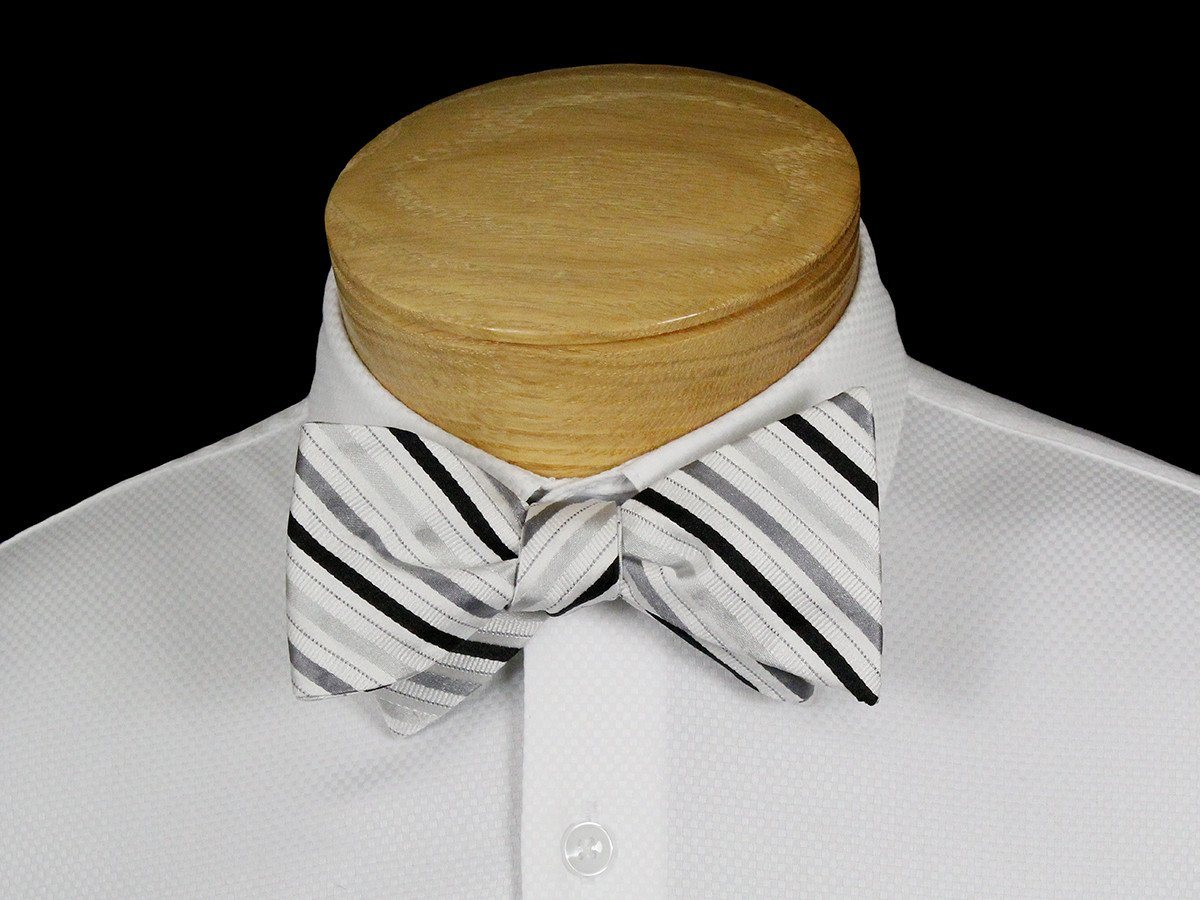 Boy's Bow Tie 22535 Silver/Black Stripe