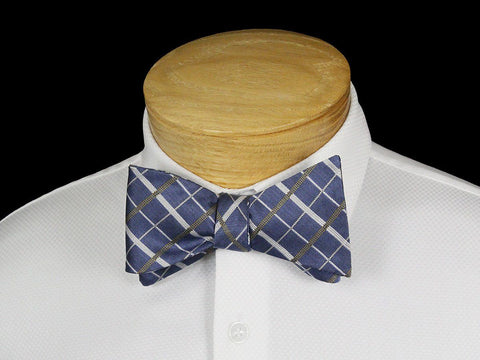 Boy's Bow Tie 22538 Blue/Khaki Plaid Boys Bow Tie Scotty Z