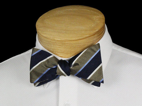 Boy's Bow Tie 22542 Navy/Khaki Stripe Boys Bow Tie Scotty Z