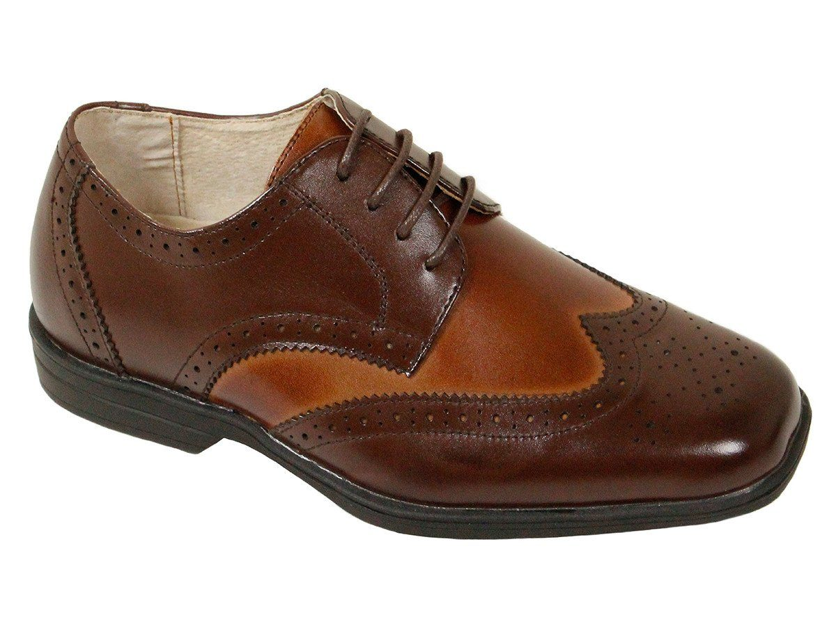 Florsheim 22790 Leather Boy's Shoe - Two Tone Wing Tip - Brown And Cognac