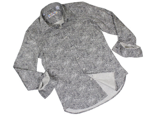 Boy's Sport Shirt 22841 Grey/Black Paisley Print