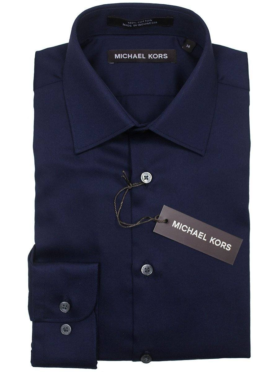 Michael Kors 22901 100% Cotton Boy's Dress Shirt - Solid Broadcloth - Navy