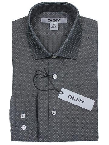 DKNY 22911 100% Cotton Boy's Dress Shirt - Solid Broadcloth - Gray Boys Dress Shirt DKNY