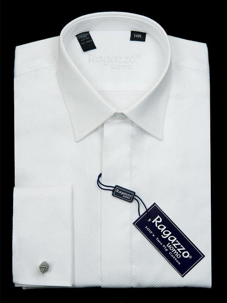 Ragazzo 22942 100% Cotton Boy's Dress Shirt - Box Weave - White