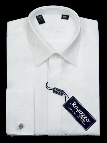 Ragazzo 22942 French Cuff Boy's Dress Shirt - Box Weave - White Boys Dress Shirt Ragazzo