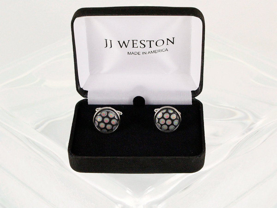 Boy's Cuff Links 22949 Black/Silver Boys Cufflinks JJ Weston