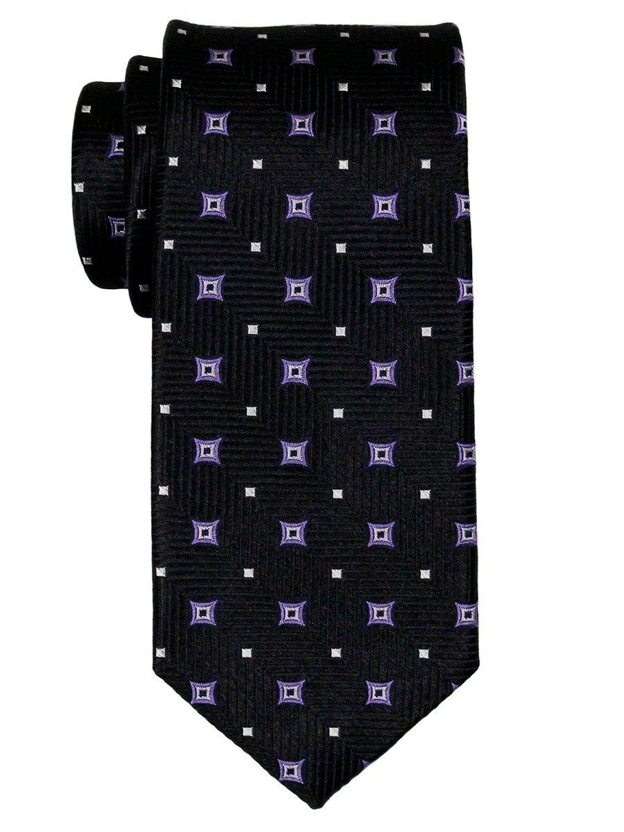 Heritage House 23063 100% Silk Boy's Tie - Neat Stars - Black / Purple