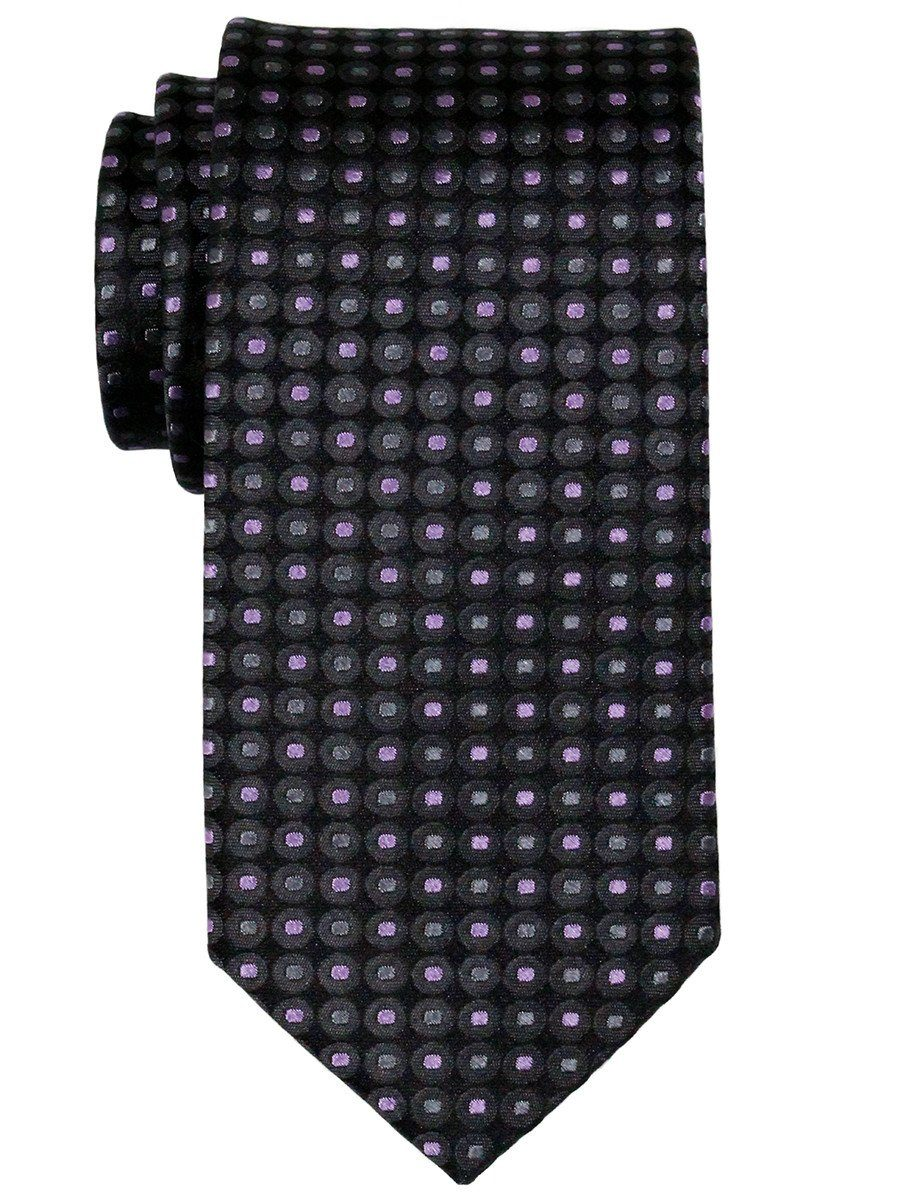 Heritage House 23081 100% Woven Silk Boy's Tie - Neat - Black/Purple/Grey
