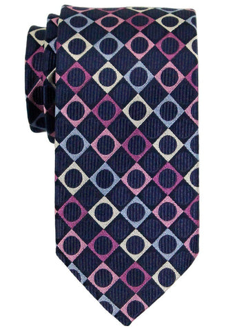 Heritage House 23117 100% Woven Silk Boy's Tie - Neat - Navy/Gray/Pink Boys Tie Heritage House