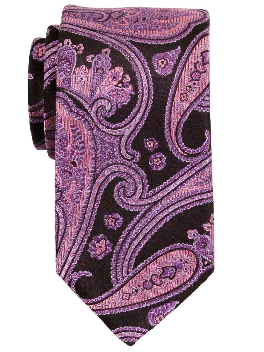 Heritage House 23147 100% Woven Silk Boy's Tie - Paisley - Black/Pink Boys Tie Heritage House