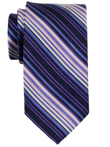 Heritage House 23174 100% Silk Boy's Tie - Stripes - Blue / Purple / Navy Boys Tie Heritage House