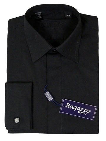 Ragazzo 23213 French Cuff Boy's Dress Shirt - Solid Broadcloth - Black Boys Dress Shirt Ragazzo