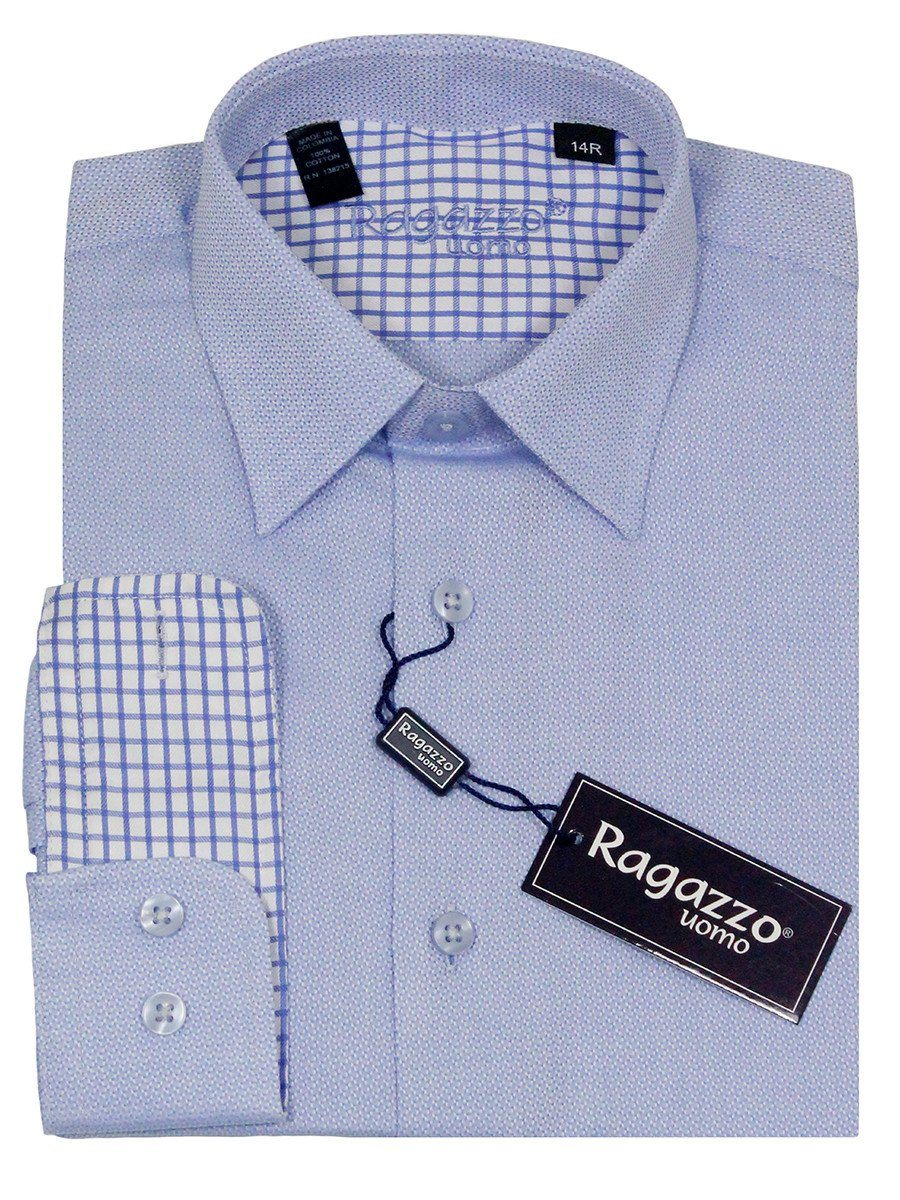 Ragazzo 23220 100% Cotton Boy's Dress Shirt - Weave - Blue